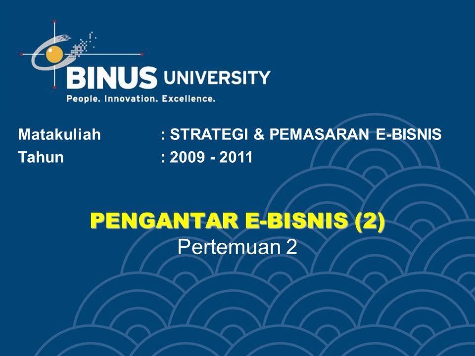 PENGANTAR E-BISNIS (2) PENGANTAR E-BISNIS (2) Pertemuan 2 Matakuliah: STRATEGI & PEMASARAN E-BISNIS Tahun: 2009 - 2011