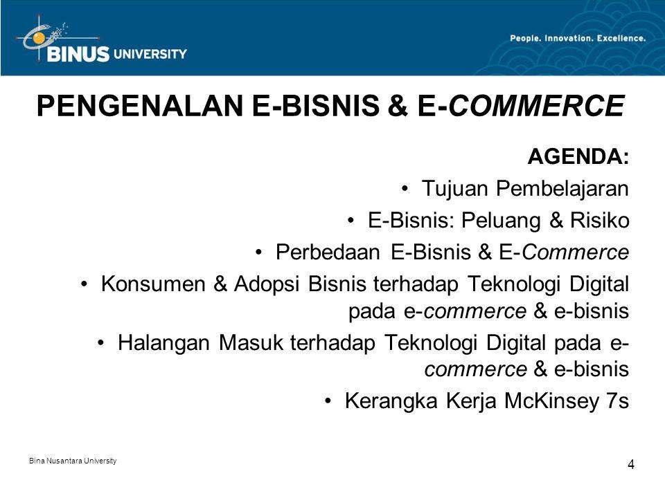 Bina Nusantara University 4 PENGENALAN E-BISNIS & E-COMMERCE AGENDA: Tujuan Pembelajaran E-Bisnis: Peluang & Risiko Perbedaan E-Bisnis & E-Commerce Ko