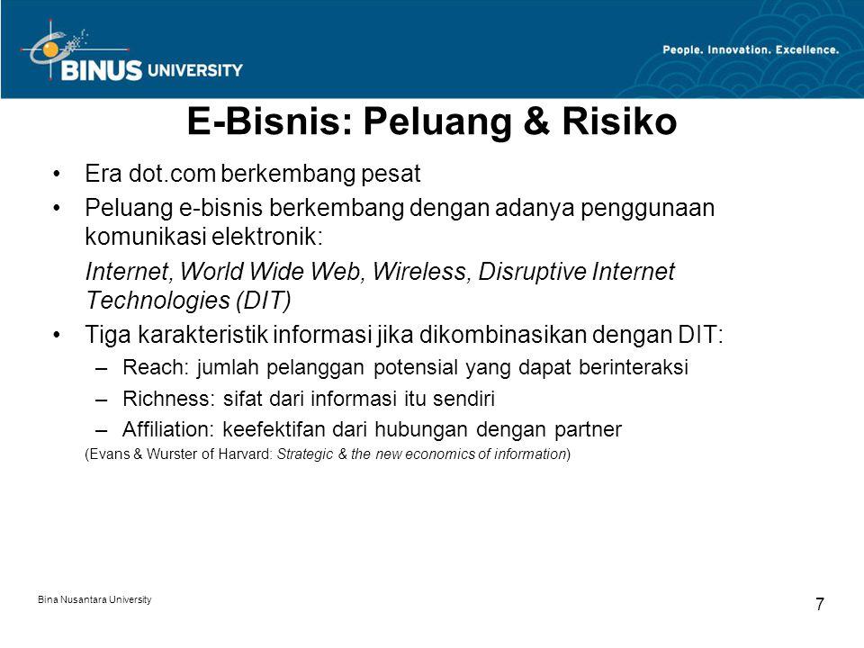 Bina Nusantara University 7 E-Bisnis: Peluang & Risiko Era dot.com berkembang pesat Peluang e-bisnis berkembang dengan adanya penggunaan komunikasi el