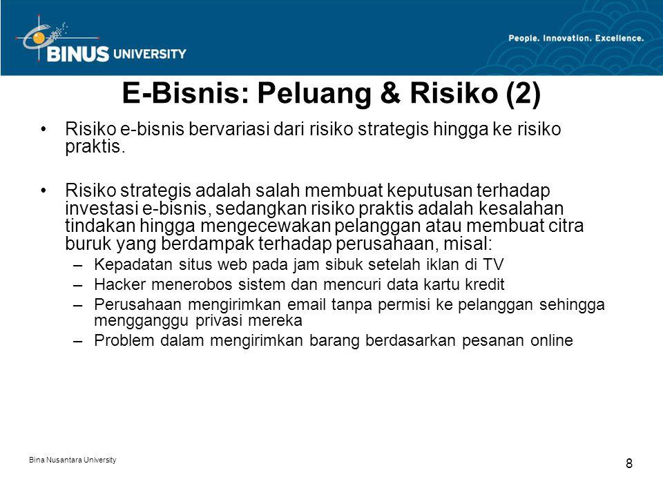 Bina Nusantara University 8 E-Bisnis: Peluang & Risiko (2) Risiko e-bisnis bervariasi dari risiko strategis hingga ke risiko praktis. Risiko strategis