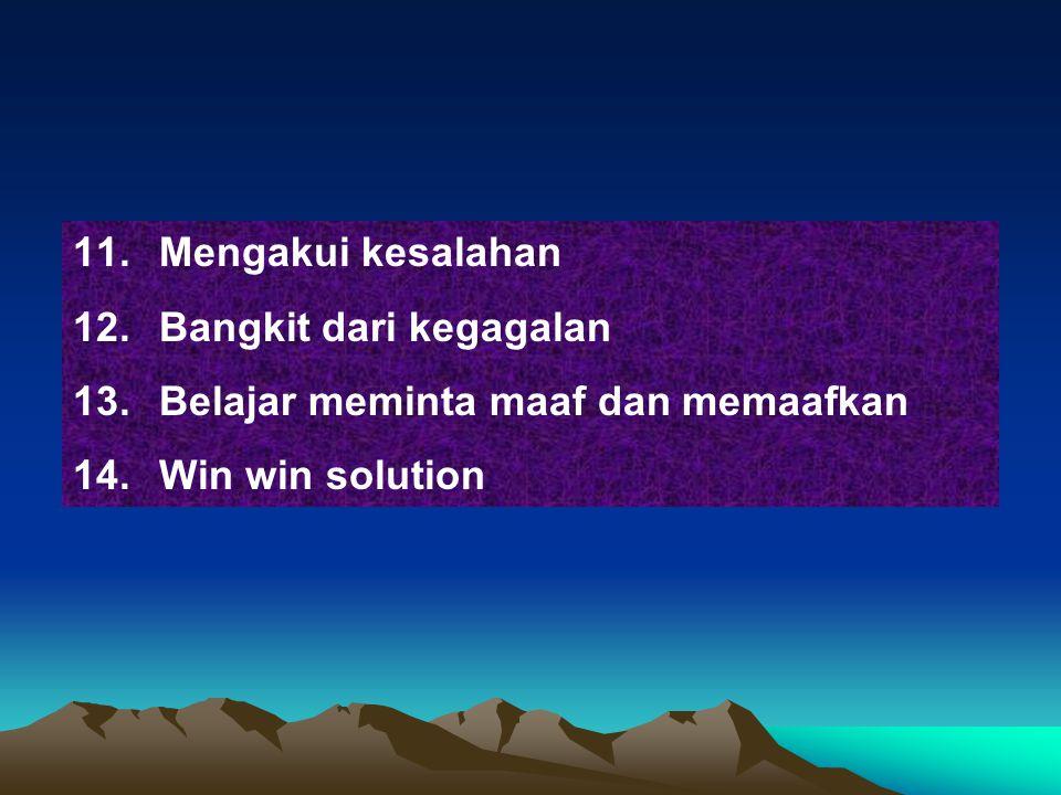 11.Mengakui kesalahan 12.Bangkit dari kegagalan 13.Belajar meminta maaf dan memaafkan 14.Win win solution