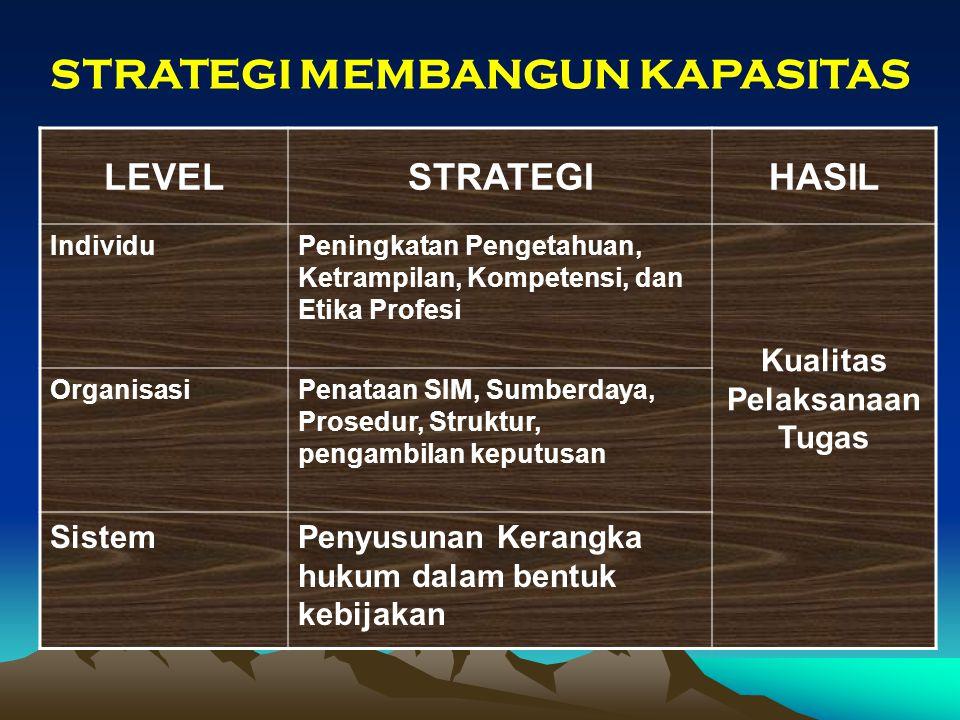 STRATEGI MEMBANGUN KAPASITAS LEVELSTRATEGIHASIL IndividuPeningkatan Pengetahuan, Ketrampilan, Kompetensi, dan Etika Profesi Kualitas Pelaksanaan Tugas