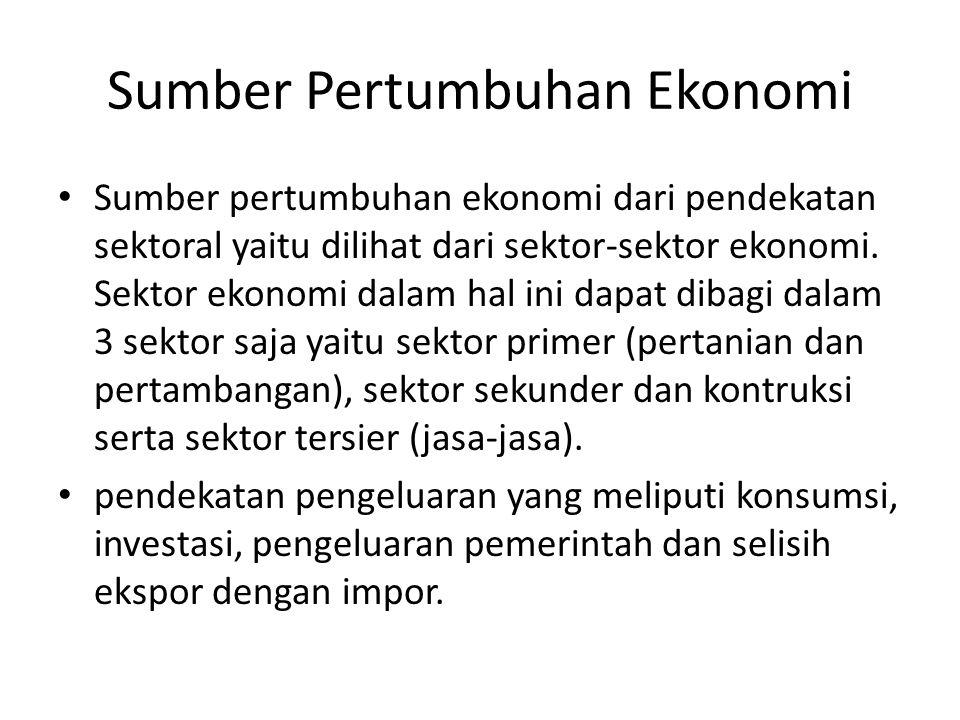 Sumber Pertumbuhan Ekonomi Sumber pertumbuhan ekonomi dari pendekatan sektoral yaitu dilihat dari sektor-sektor ekonomi. Sektor ekonomi dalam hal ini