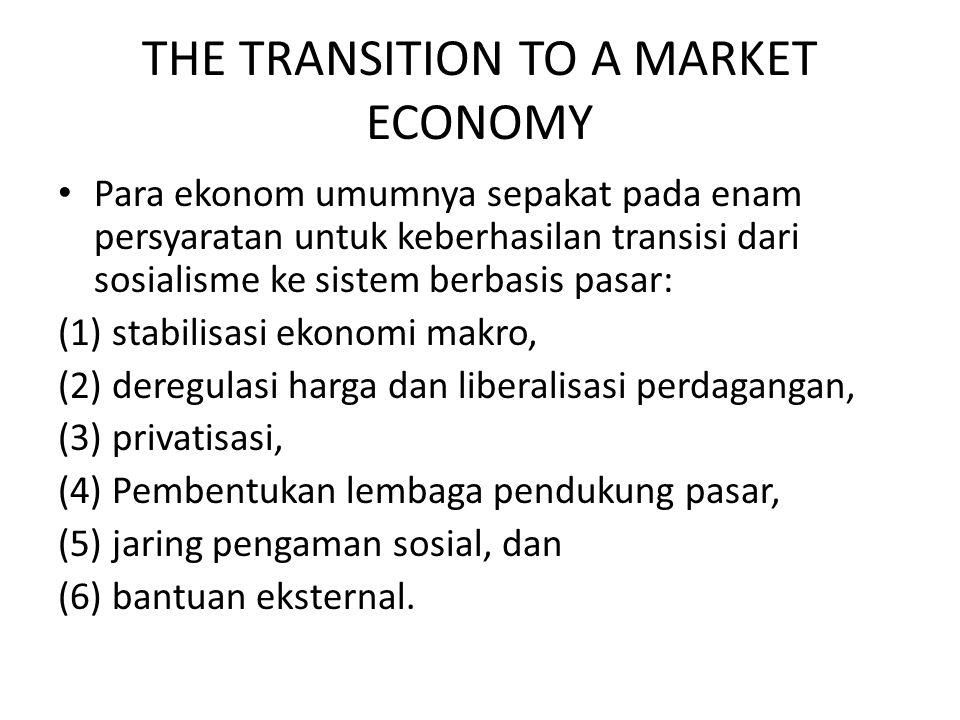 THE TRANSITION TO A MARKET ECONOMY Para ekonom umumnya sepakat pada enam persyaratan untuk keberhasilan transisi dari sosialisme ke sistem berbasis pasar: (1) stabilisasi ekonomi makro, (2) deregulasi harga dan liberalisasi perdagangan, (3) privatisasi, (4) Pembentukan lembaga pendukung pasar, (5) jaring pengaman sosial, dan (6) bantuan eksternal.