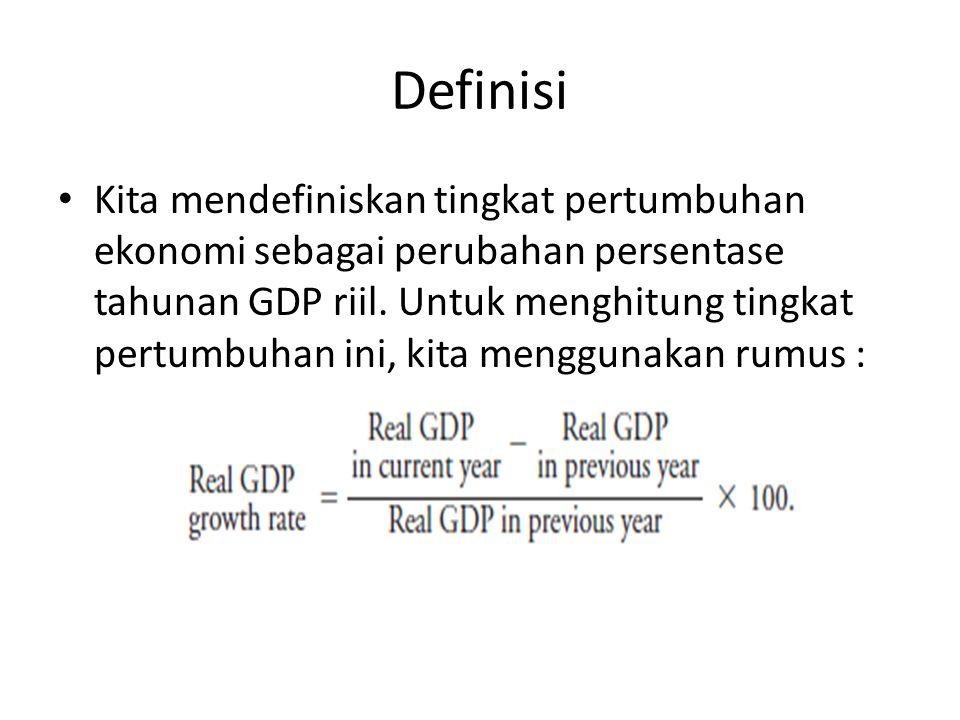 Definisi Kita mendefiniskan tingkat pertumbuhan ekonomi sebagai perubahan persentase tahunan GDP riil. Untuk menghitung tingkat pertumbuhan ini, kita
