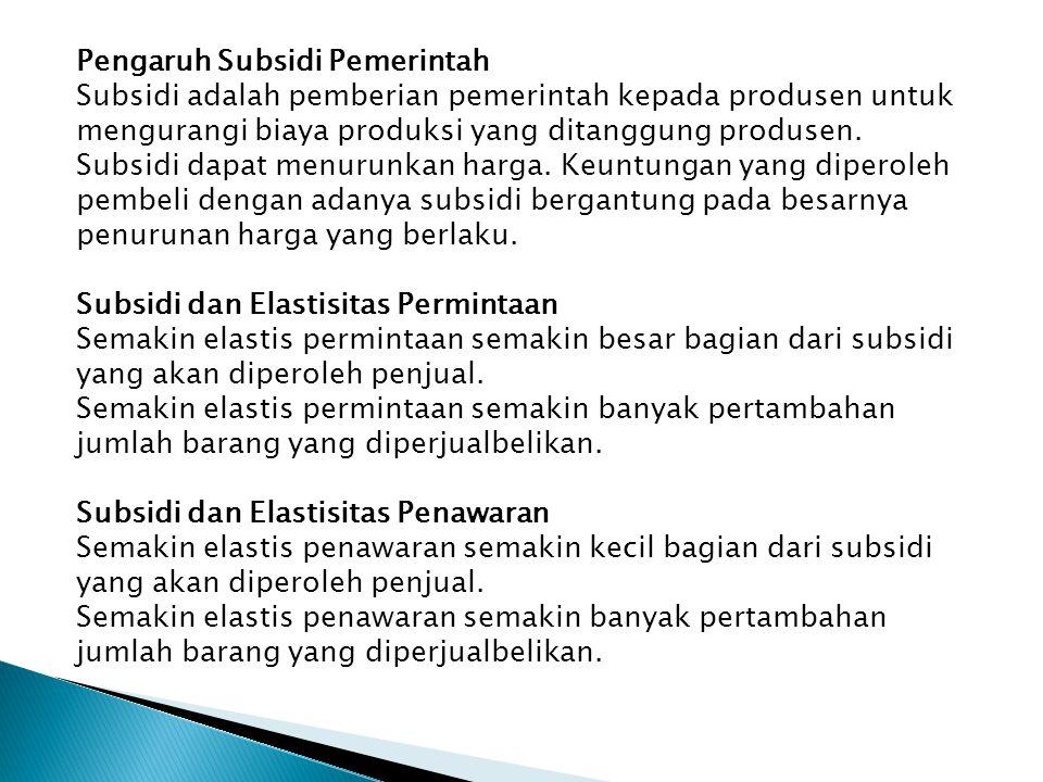 Pengaruh Subsidi Pemerintah Subsidi adalah pemberian pemerintah kepada produsen untuk mengurangi biaya produksi yang ditanggung produsen. Subsidi dapa