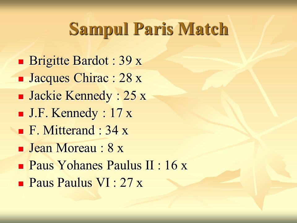 Sampul Paris Match Brigitte Bardot : 39 x Brigitte Bardot : 39 x Jacques Chirac : 28 x Jacques Chirac : 28 x Jackie Kennedy : 25 x Jackie Kennedy : 25
