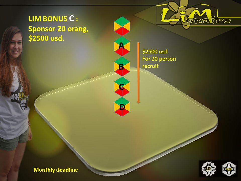 LIM BONUS C : Sponsor 20 orang, $2500 usd.
