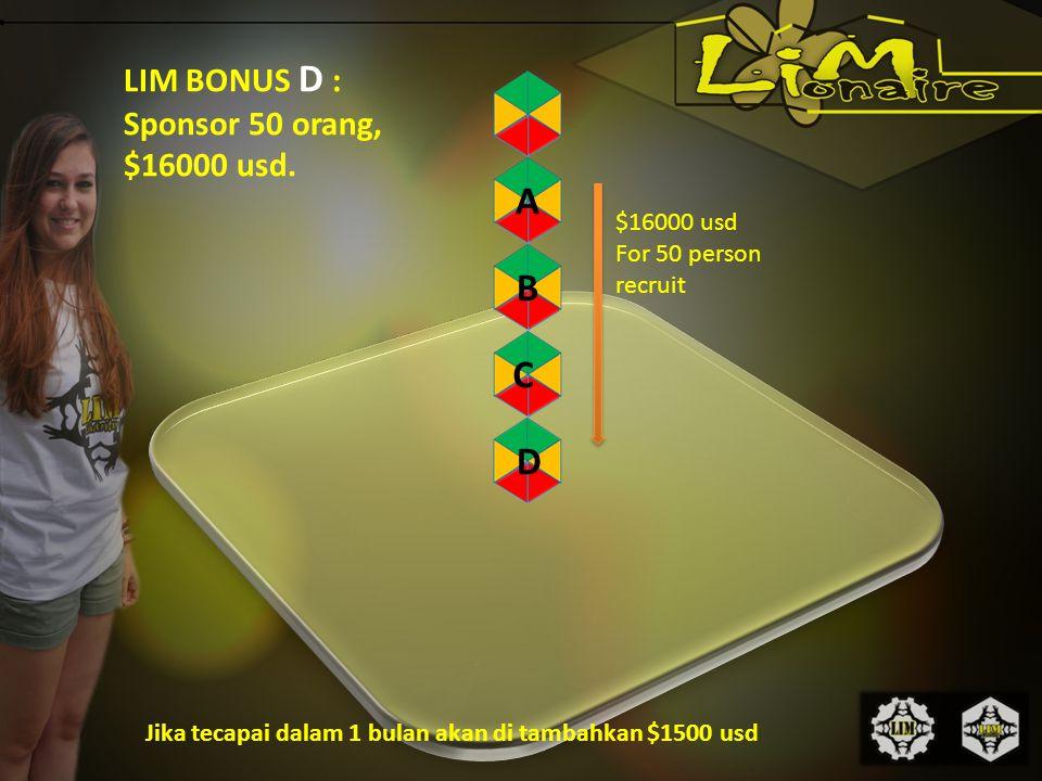 LIM BONUS D : Sponsor 50 orang, $16000 usd.