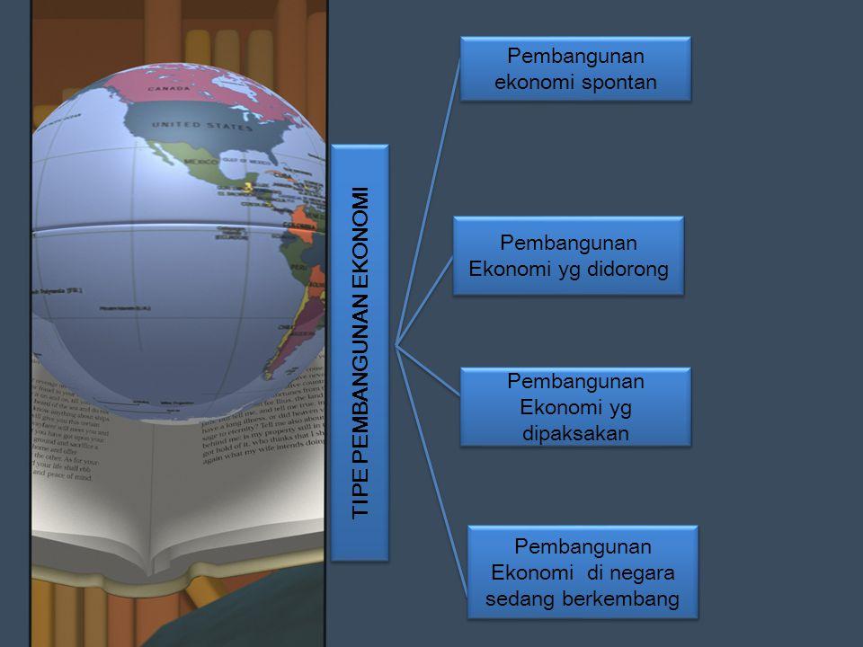 TIPE PEMBANGUNAN EKONOMI Pembangunan ekonomi spontan Pembangunan Ekonomi di negara sedang berkembang Pembangunan Ekonomi yg dipaksakan Pembangunan Eko