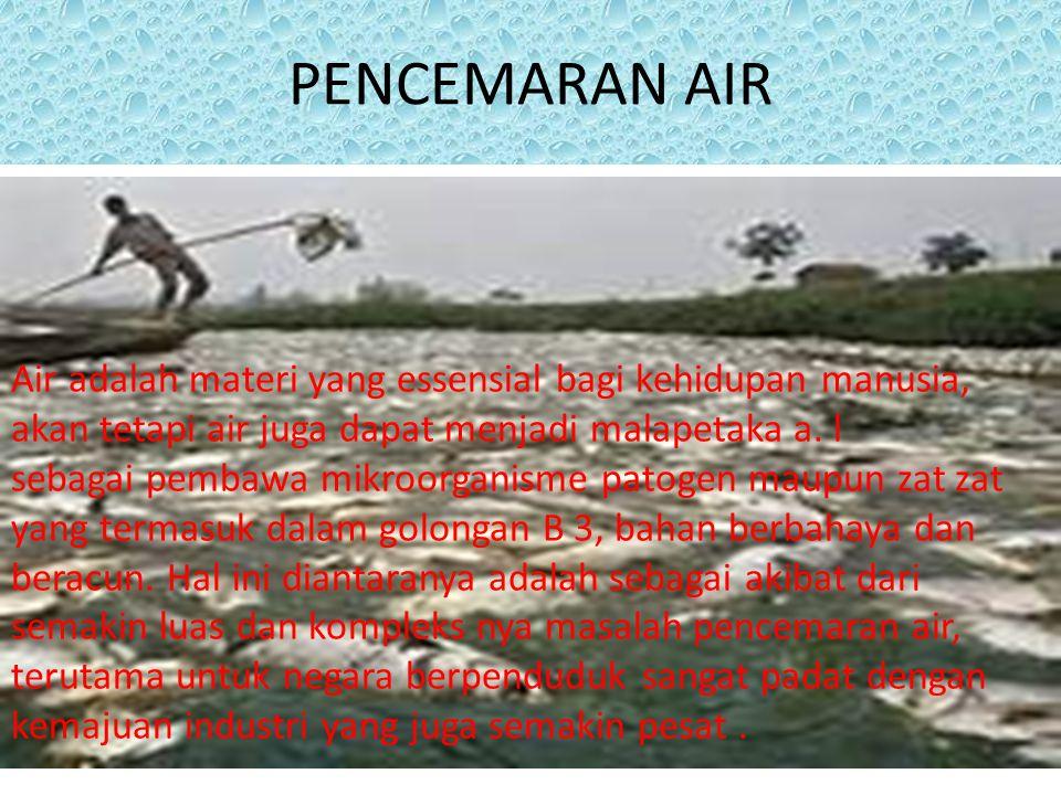 PENCEMARAN AIR Air adalah materi yang essensial bagi kehidupan manusia, akan tetapi air juga dapat menjadi malapetaka a. l sebagai pembawa mikroorgani