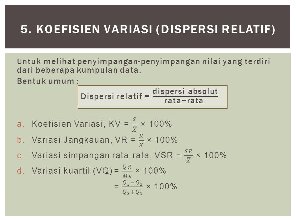5. KOEFISIEN VARIASI (DISPERSI RELATIF)