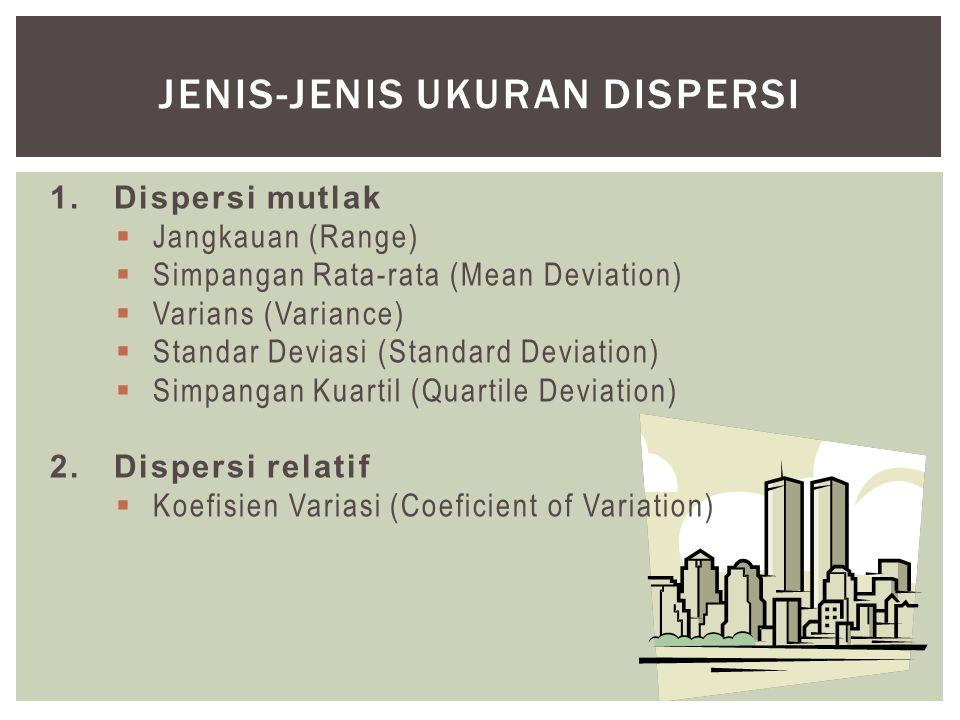 1.Dispersi mutlak  Jangkauan (Range)  Simpangan Rata-rata (Mean Deviation)  Varians (Variance)  Standar Deviasi (Standard Deviation)  Simpangan Kuartil (Quartile Deviation) 2.Dispersi relatif  Koefisien Variasi (Coeficient of Variation) JENIS-JENIS UKURAN DISPERSI