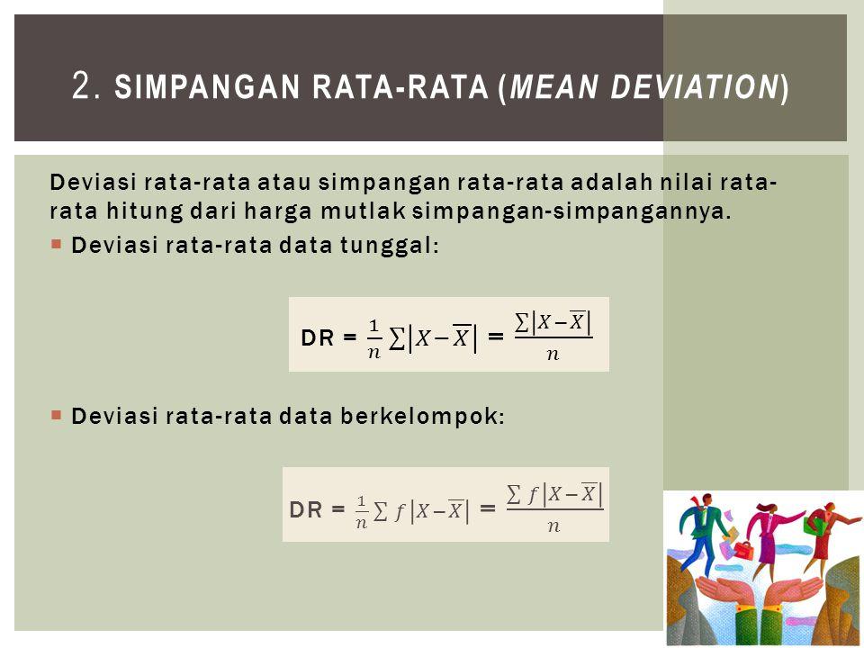 Tentukan deviasi rata-rata dan deviasi frekuensi dari data berikut ini: CONTOH 01.