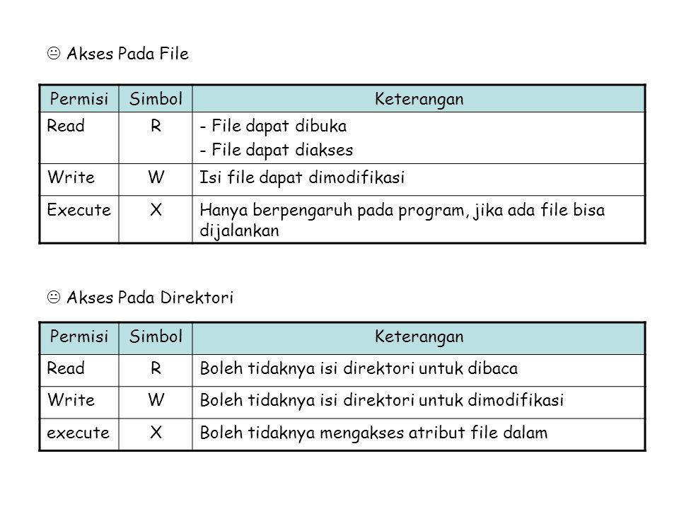  Akses Pada File  Akses Pada Direktori PermisiSimbolKeterangan ReadR- File dapat dibuka - File dapat diakses WriteWIsi file dapat dimodifikasi Execu