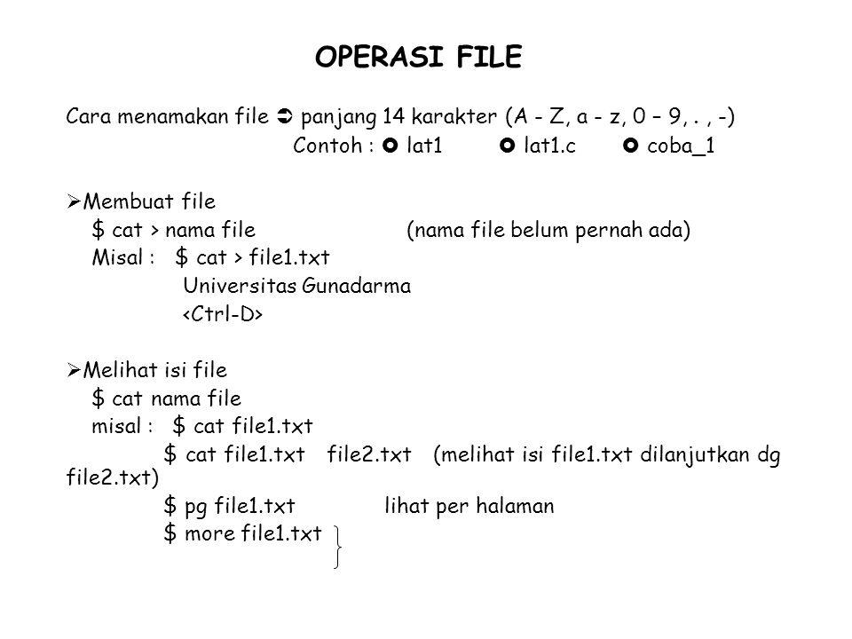  Membuat salinan file (copy) $ cp file_asal file_target $ cp file1.txt file1a.txt  Mengganti nama file baru (mv = move) $ mv file lama file baru $ mv file1.txt data.txt  Menghapus file (rm = remove) - i : konfirmasi kembali sebelum dihapus - f : langsung dihapus walau ada write protection contoh : $ rm lat1.txt r w x ditanya dulu sblm dihapus r – x langsung dihapus $ rm –i lat1.txt r w x di tanya dulu r – x