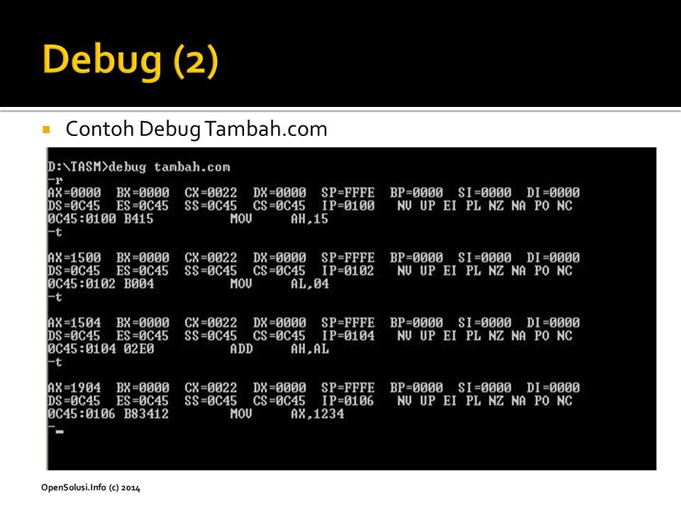  Contoh Debug Tambah.com