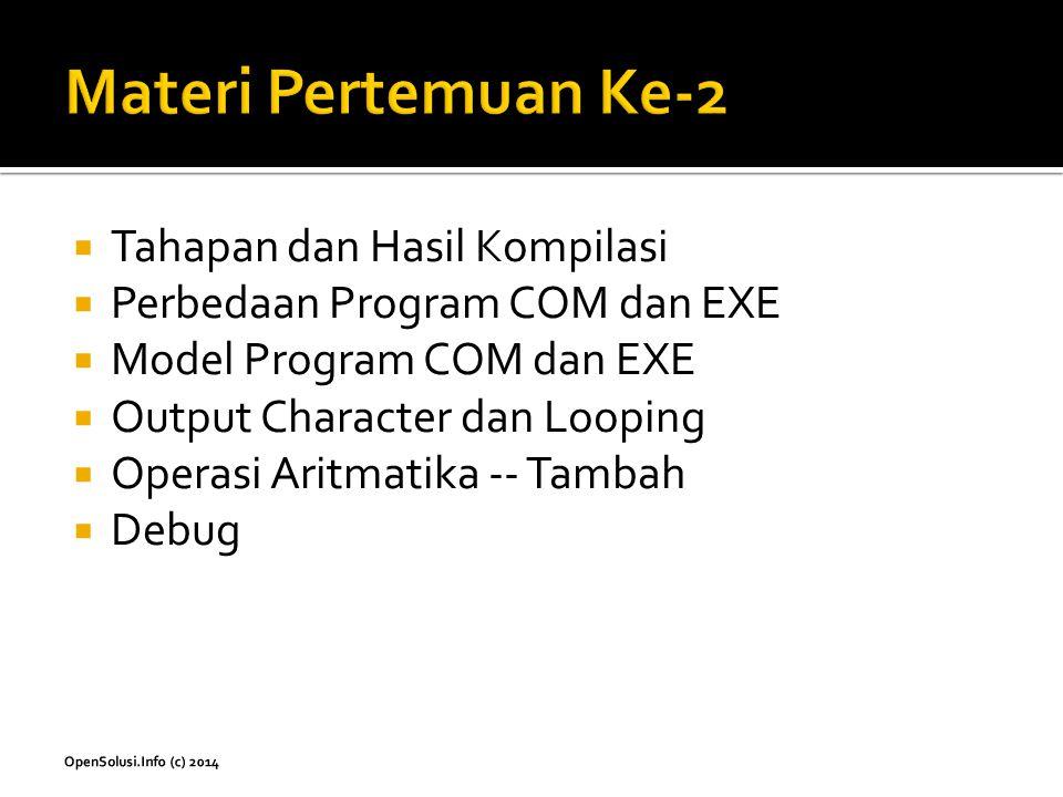  Tahapan dan Hasil Kompilasi  Perbedaan Program COM dan EXE  Model Program COM dan EXE  Output Character dan Looping  Operasi Aritmatika -- Tamba