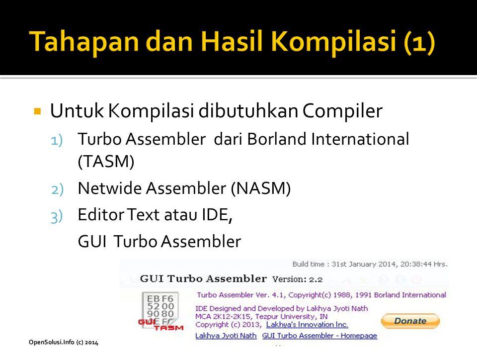  Untuk Kompilasi dibutuhkan Compiler 1) Turbo Assembler dari Borland International (TASM) 2) Netwide Assembler (NASM) 3) Editor Text atau IDE, GUI Tu