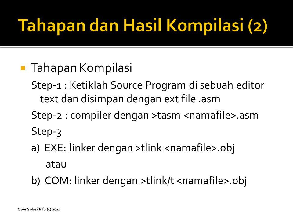  Tahapan Kompilasi Step-1 : Ketiklah Source Program di sebuah editor text dan disimpan dengan ext file.asm Step-2 : compiler dengan >tasm.asm Step-3