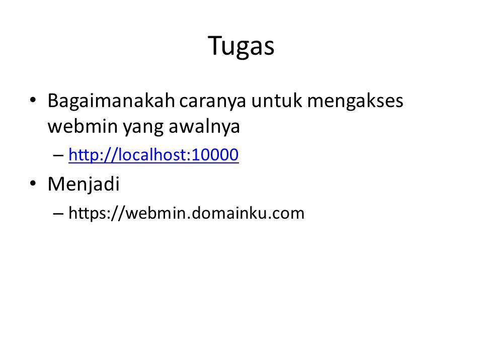 Tugas Bagaimanakah caranya untuk mengakses webmin yang awalnya – http://localhost:10000 http://localhost:10000 Menjadi – https://webmin.domainku.com