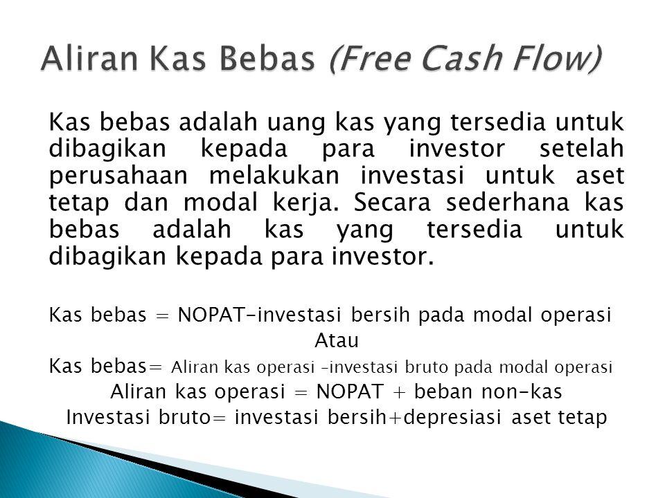 Kas bebas adalah uang kas yang tersedia untuk dibagikan kepada para investor setelah perusahaan melakukan investasi untuk aset tetap dan modal kerja.
