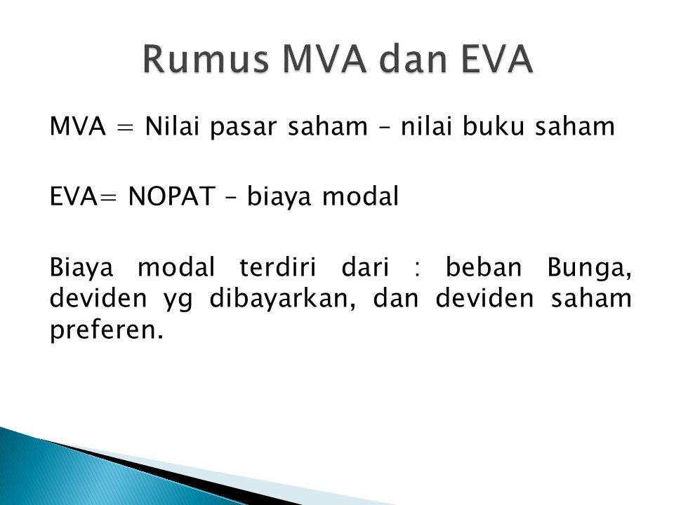 MVA = Nilai pasar saham – nilai buku saham EVA= NOPAT – biaya modal Biaya modal terdiri dari : beban Bunga, deviden yg dibayarkan, dan deviden saham p