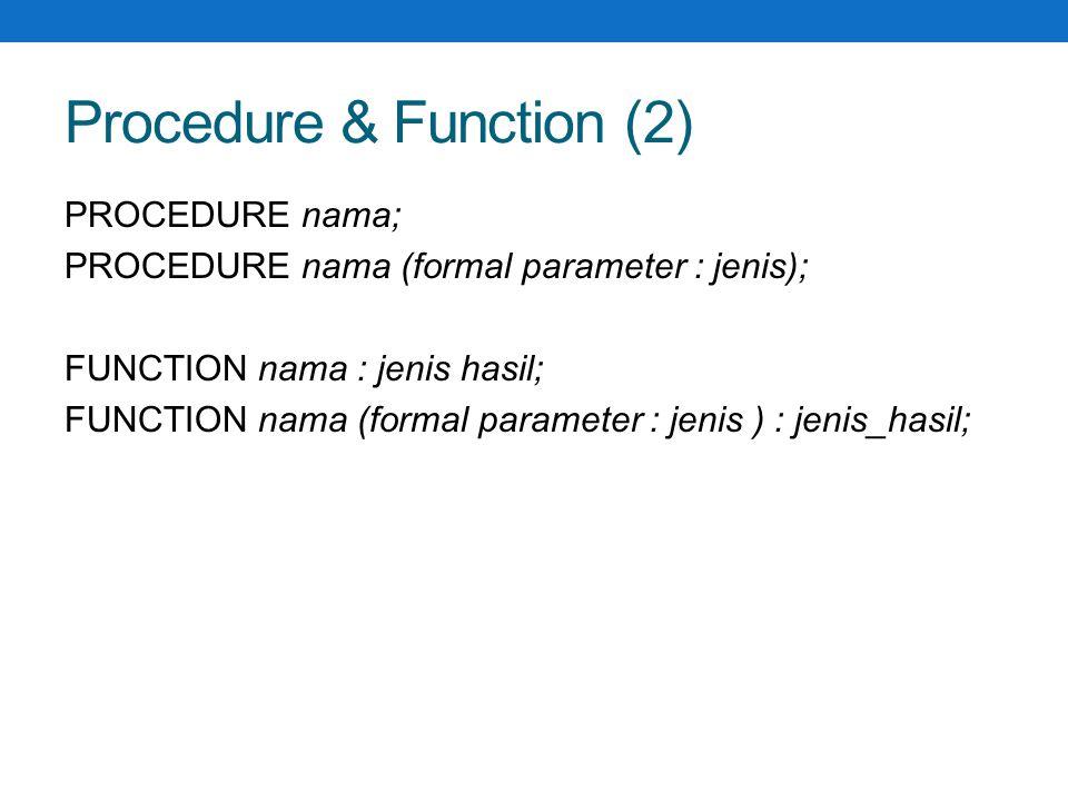Procedure non parameter program halo; uses wincrt; procedure coba; begin writeln( PASCAL ); end; begin write( halo ); coba; Readln; end.