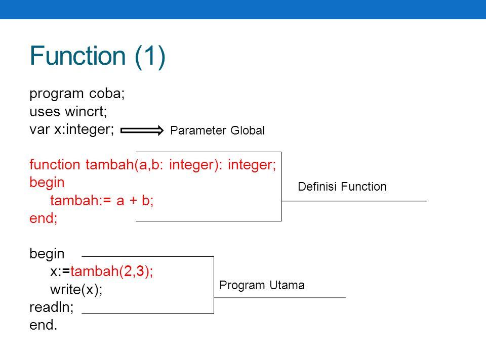Function (1) program coba2; uses wincrt; var p,q,a,b:integer; Function max (x,y : integer) : integer; Begin If x < y then max := y else max := x; End; begin write( input a: );readln(a); write( input b: );readln(b); p:= max(a,b); q:= max(a+b,a*b); writeln( p= ,p); writeln( q= ,q); readln; end.