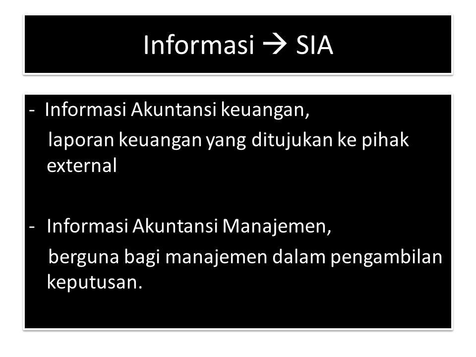 Informasi  SIA - Informasi Akuntansi keuangan, laporan keuangan yang ditujukan ke pihak external -Informasi Akuntansi Manajemen, berguna bagi manajemen dalam pengambilan keputusan.