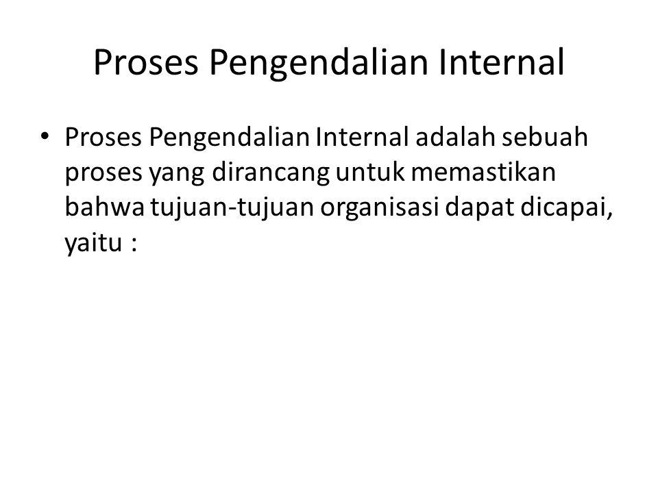 Proses Pengendalian Internal Proses Pengendalian Internal adalah sebuah proses yang dirancang untuk memastikan bahwa tujuan-tujuan organisasi dapat dicapai, yaitu :