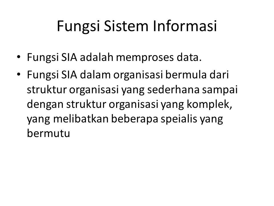 Fungsi Sistem Informasi Fungsi SIA adalah memproses data. Fungsi SIA dalam organisasi bermula dari struktur organisasi yang sederhana sampai dengan st