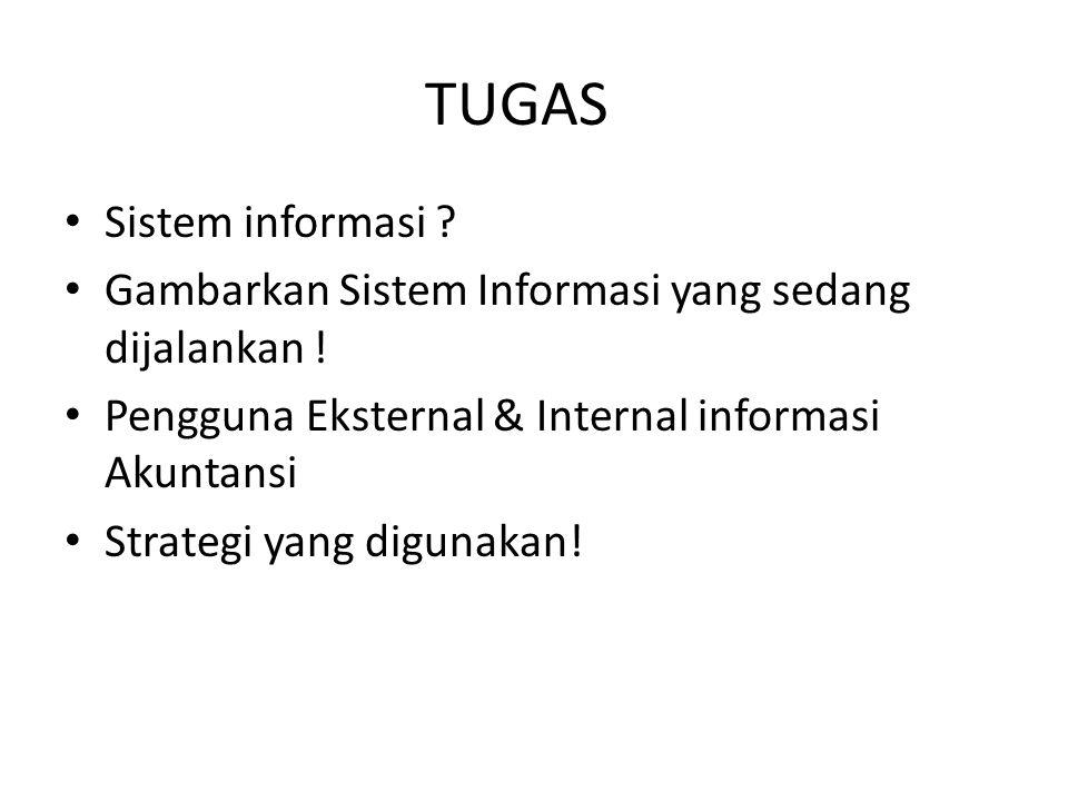 TUGAS Sistem informasi ? Gambarkan Sistem Informasi yang sedang dijalankan ! Pengguna Eksternal & Internal informasi Akuntansi Strategi yang digunakan