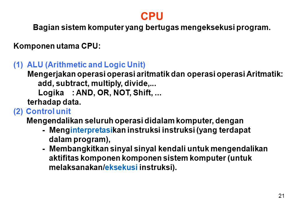 21 CPU Bagian sistem komputer yang bertugas mengeksekusi program.