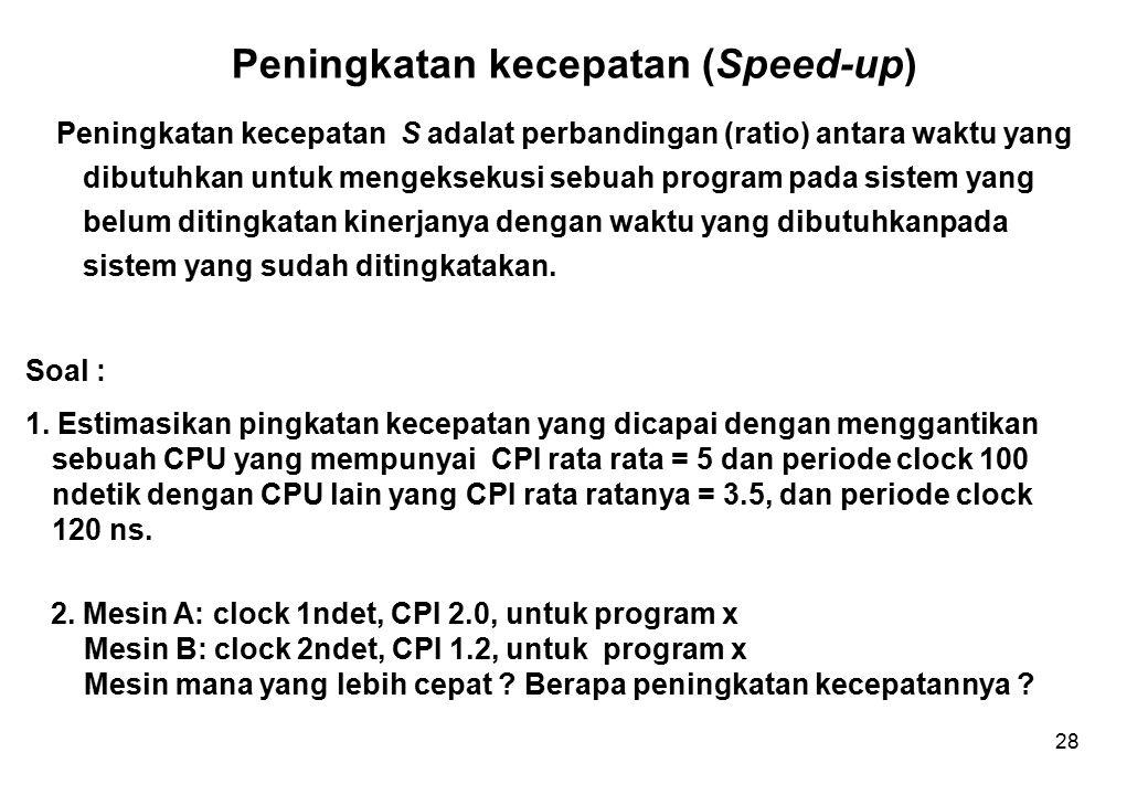 28 Peningkatan kecepatan (Speed-up) Peningkatan kecepatan S adalat perbandingan (ratio) antara waktu yang dibutuhkan untuk mengeksekusi sebuah program pada sistem yang belum ditingkatan kinerjanya dengan waktu yang dibutuhkanpada sistem yang sudah ditingkatakan.
