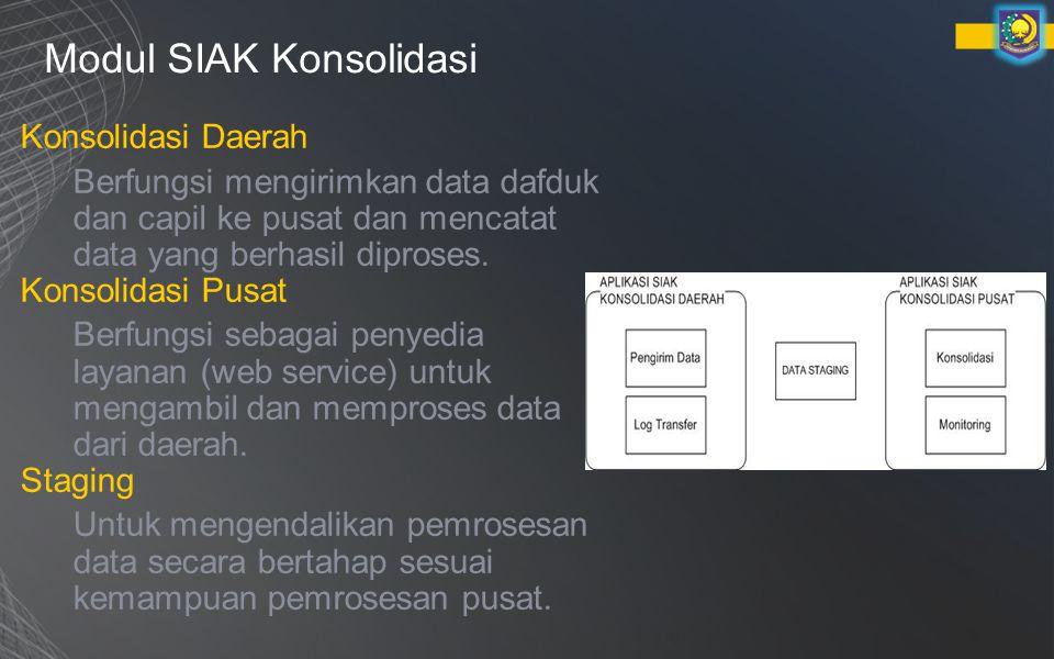 Modul SIAK Konsolidasi Konsolidasi Daerah Berfungsi mengirimkan data dafduk dan capil ke pusat dan mencatat data yang berhasil diproses.