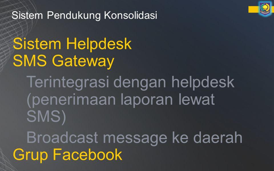 Sistem Pendukung Konsolidasi Sistem Helpdesk SMS Gateway Terintegrasi dengan helpdesk (penerimaan laporan lewat SMS) Broadcast message ke daerah Grup Facebook