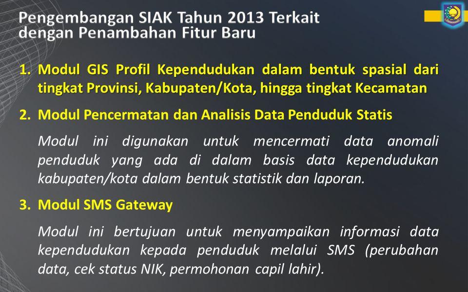 1.Modul GIS Profil Kependudukan dalam bentuk spasial dari tingkat Provinsi, Kabupaten/Kota, hingga tingkat Kecamatan 2.Modul Pencermatan dan Analisis Data Penduduk Statis Modul ini digunakan untuk mencermati data anomali penduduk yang ada di dalam basis data kependudukan kabupaten/kota dalam bentuk statistik dan laporan.