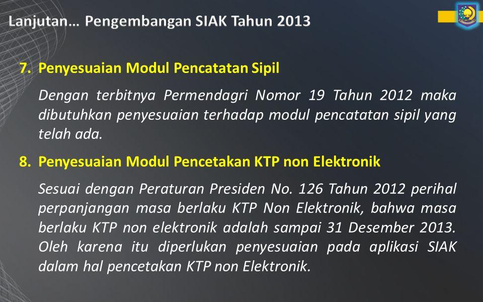7.Penyesuaian Modul Pencatatan Sipil Dengan terbitnya Permendagri Nomor 19 Tahun 2012 maka dibutuhkan penyesuaian terhadap modul pencatatan sipil yang telah ada.