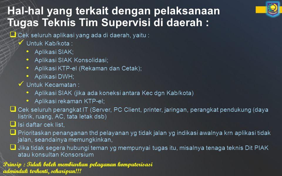 Hal-hal yang terkait dengan pelaksanaan Tugas Teknis Tim Supervisi di daerah : Prinsip : Tidak boleh membiarkan pelayanan komputerisasi adminduk terhenti, seharipun!!.