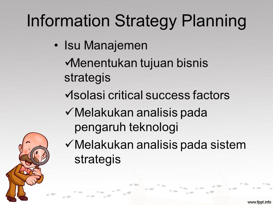 Information Strategy Planning Isu Manajemen Menentukan tujuan bisnis strategis Isolasi critical success factors Melakukan analisis pada pengaruh teknologi Melakukan analisis pada sistem strategis