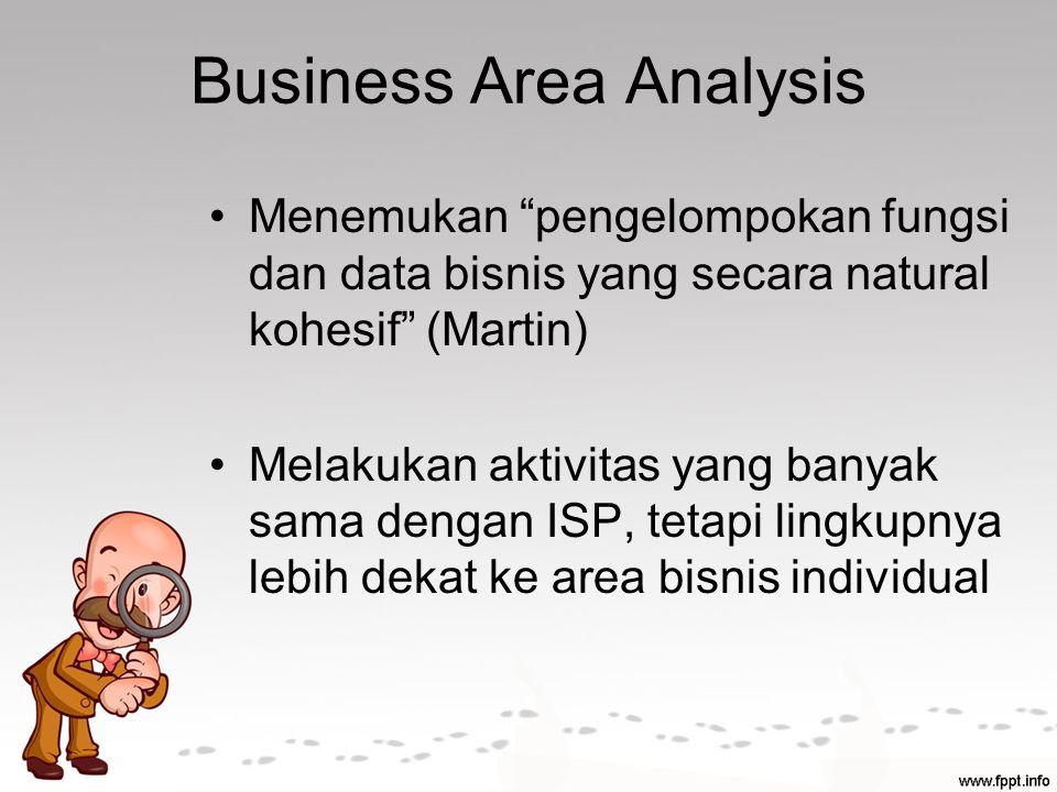 Business Area Analysis Menemukan pengelompokan fungsi dan data bisnis yang secara natural kohesif (Martin) Melakukan aktivitas yang banyak sama dengan ISP, tetapi lingkupnya lebih dekat ke area bisnis individual