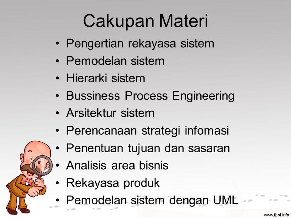 Cakupan Materi Pengertian rekayasa sistem Pemodelan sistem Hierarki sistem Bussiness Process Engineering Arsitektur sistem Perencanaan strategi infomasi Penentuan tujuan dan sasaran Analisis area bisnis Rekayasa produk Pemodelan sistem dengan UML