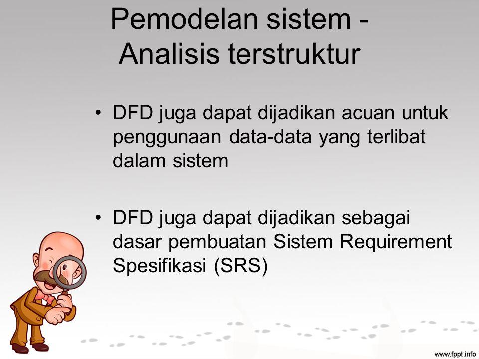 Pemodelan sistem - Analisis terstruktur DFD juga dapat dijadikan acuan untuk penggunaan data-data yang terlibat dalam sistem DFD juga dapat dijadikan sebagai dasar pembuatan Sistem Requirement Spesifikasi (SRS)