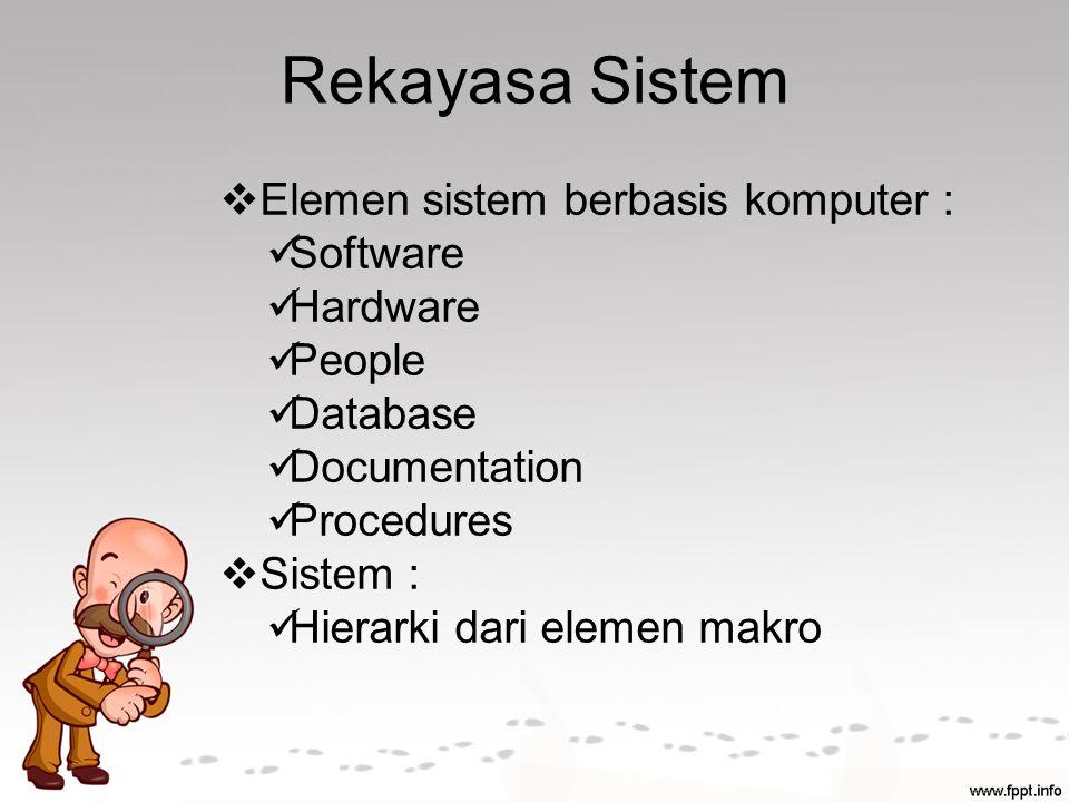 Rekayasa Sistem  Elemen sistem berbasis komputer : Software Hardware People Database Documentation Procedures  Sistem : Hierarki dari elemen makro