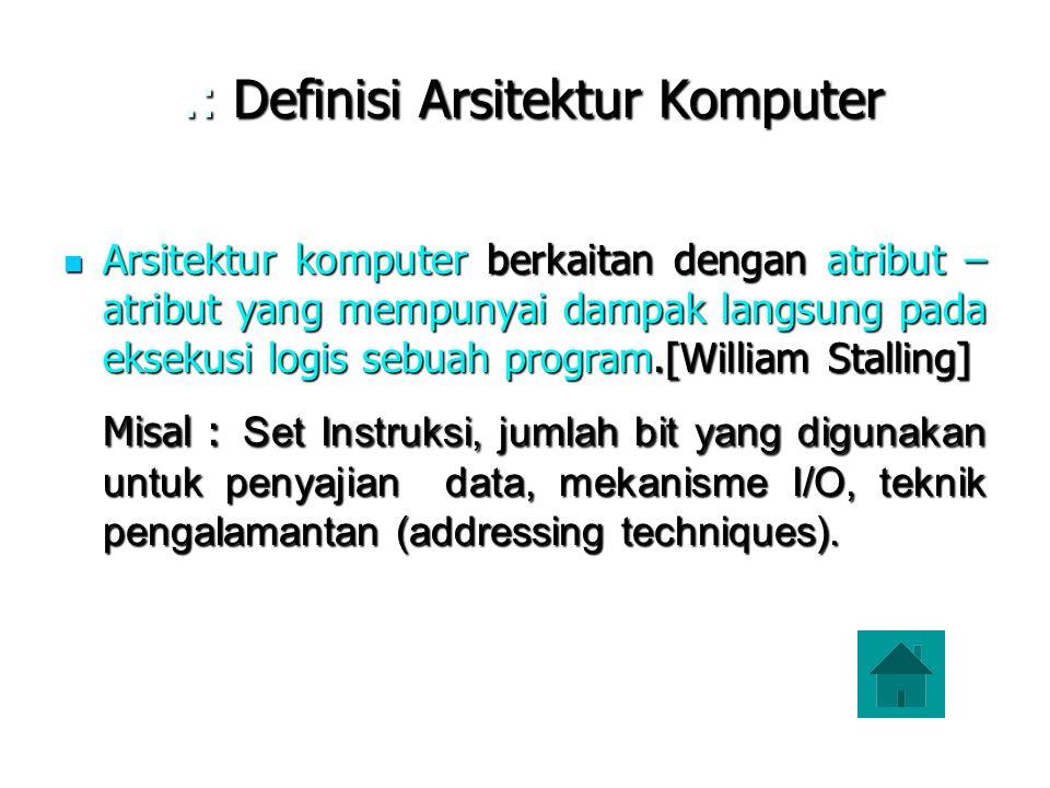 .: Definisi Arsitektur Komputer.: Definisi Arsitektur Komputer Arsitektur komputer berkaitan dengan atribut – atribut yang mempunyai dampak langsung p