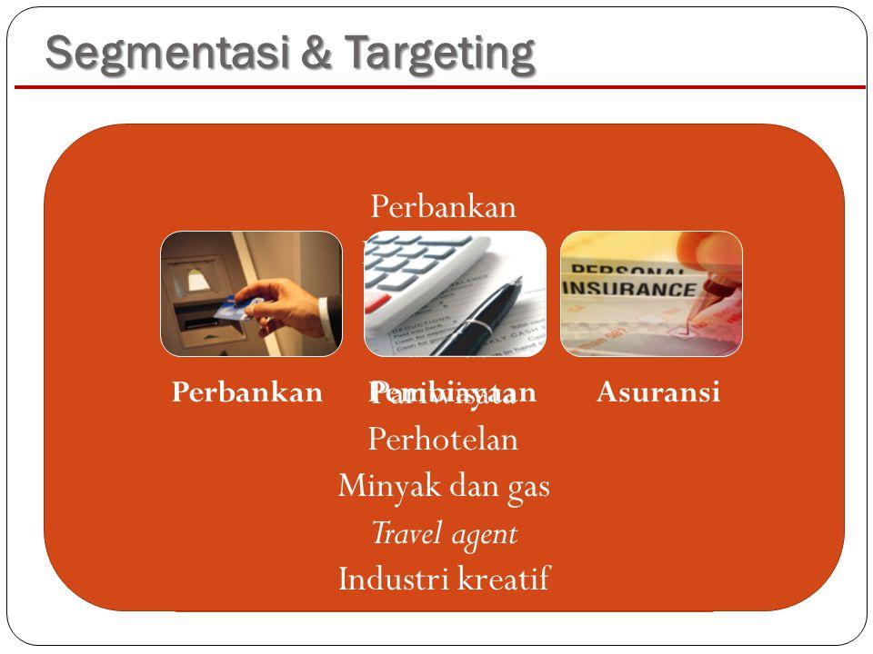 Segmentasi & Targeting Firmografi: Jabodetabek, non Jabodetabek Orientasi: growth, efisiensi biaya Kebutuhan inovasi Familiaritas terhadap teknologi K