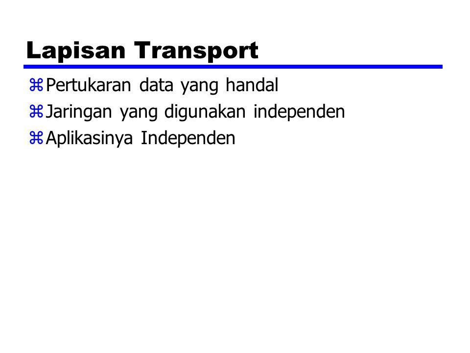 Lapisan Transport zPertukaran data yang handal zJaringan yang digunakan independen zAplikasinya Independen