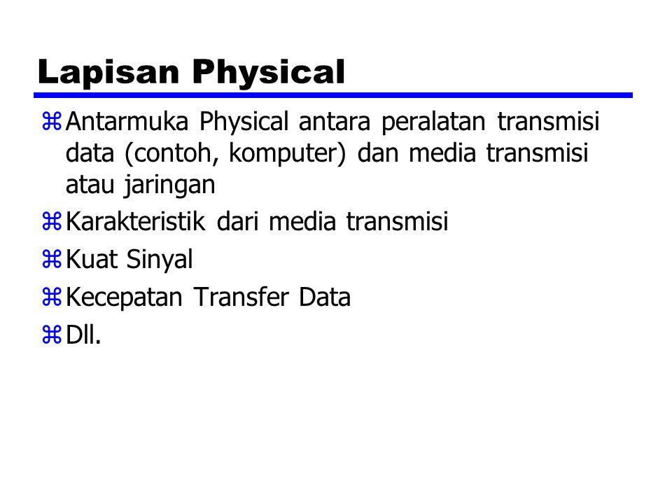 Lapisan Physical zAntarmuka Physical antara peralatan transmisi data (contoh, komputer) dan media transmisi atau jaringan zKarakteristik dari media tr
