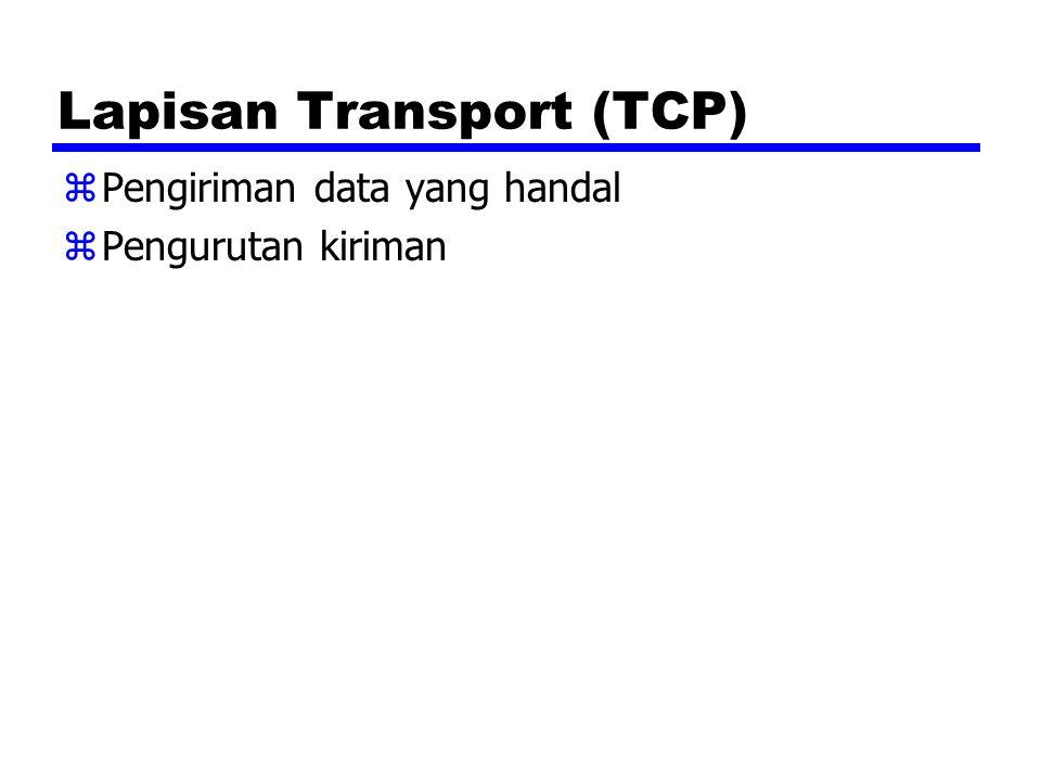 Lapisan Transport (TCP) zPengiriman data yang handal zPengurutan kiriman